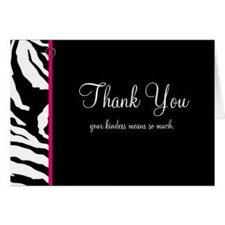 Gracias cardar la plantilla ** estampado de zebra tarjeta pequeña