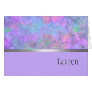 Gracias cardar la plata azul rosada púrpura tarjeta pequeña