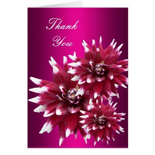 Gracias cardar las flores rosadas rojas encantador tarjeton