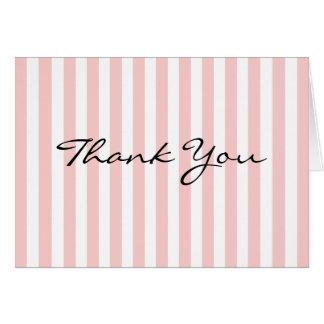 Gracias cardar personalizado rosado y blanco de la tarjetas