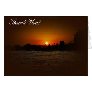 Gracias cardar - puesta del sol del océano tarjeta de felicitación