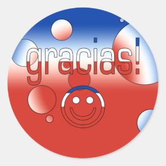 Gracias! Chile Flag Colors Pop Art Classic Round Sticker