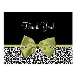 Gracias cinta moderna del verde del tilo del leopa tarjetas postales