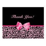 Gracias cinta rosada y negra de moda del leopardo tarjetas postales