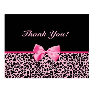 Gracias cinta rosada y negra de moda del leopardo tarjeta postal
