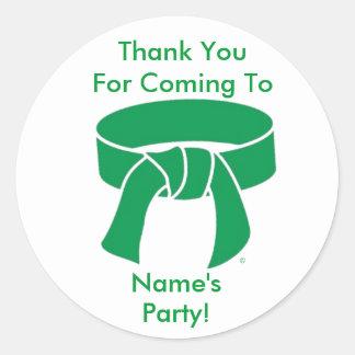 Gracias cinturón verde de los artes marciales de pegatina redonda