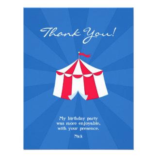 Gracias circo tarjeta plana del carnaval comunicado personalizado