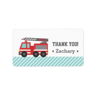 Gracias, coche de bomberos rojo etiquetas de dirección