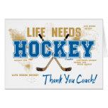 Gracias coche de hockey que la vida necesita tarjeta de felicitación