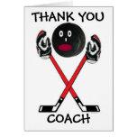 Gracias coche de hockey tarjeta de felicitación