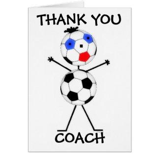 Gracias coche del fútbol tarjeta de felicitación