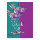 """""""Gracias"""" cóctel púrpura de martini del trullo Tarjetas"""