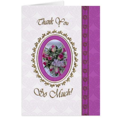 Gracias con el camafeo de las flores tarjeta de felicitación