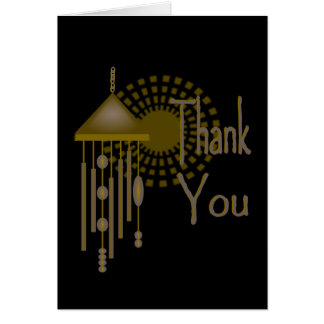 Gracias con el carillón de viento y el resplandor tarjeta