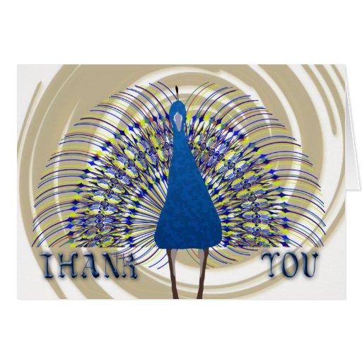 Gracias con el pavo real del vector tarjetas