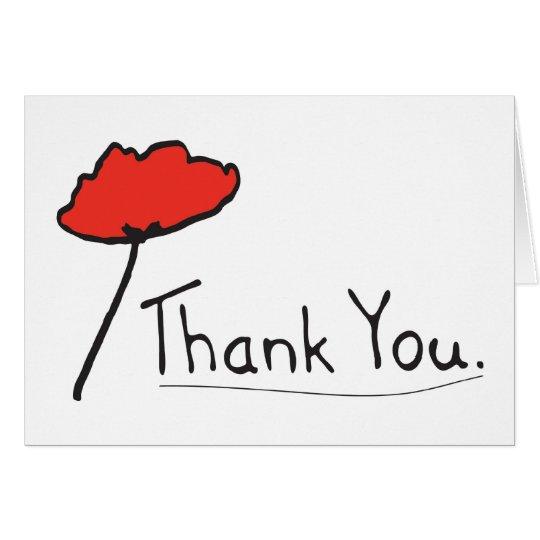 Gracias con la flor roja de la amapola tarjeta de felicitación