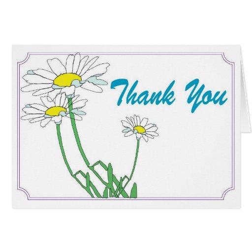 Gracias con las margaritas tarjeta de felicitación