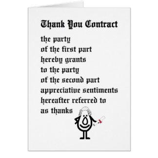 Gracias contratar - un legal divertido le agradece tarjeta de felicitación