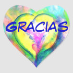 Gracias Corazon Etiqueta Engomada