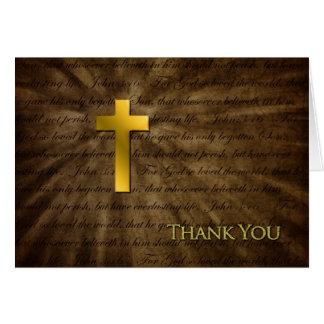 Gracias - cruz cristiana del oro - 3:16 de Juan Tarjeta De Felicitación