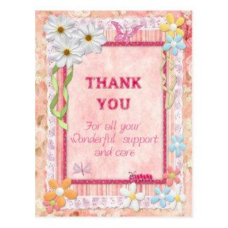 Gracias cuidador, tarjeta del arte de las flores postales