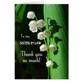 Gracias, cuñada, lirio de los valles tarjeta de felicitación