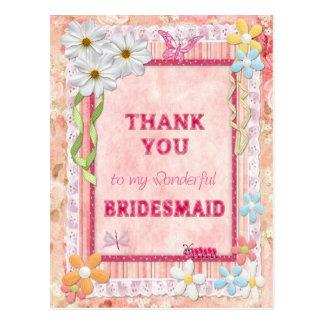 Gracias dama de honor, tarjeta del arte de las postal