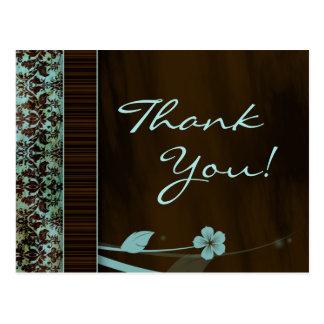 Gracias damasco azul Brown de la flor de la postal