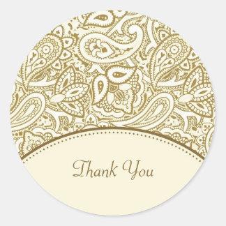 Gracias damasco de lujo de Paisley del oro y de la Pegatina Redonda