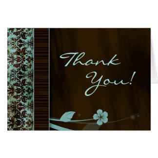 Gracias damasco del azul de la flor de la tarjeta
