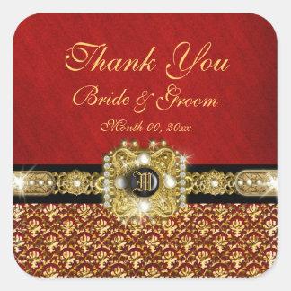 """Gracias"" damasco rojo negro del oro Pegatina Cuadrada"