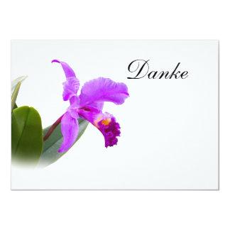 """Gracias, Danke, alemán, tarjeta de la orquídea Invitación 4.5"""" X 6.25"""""""
