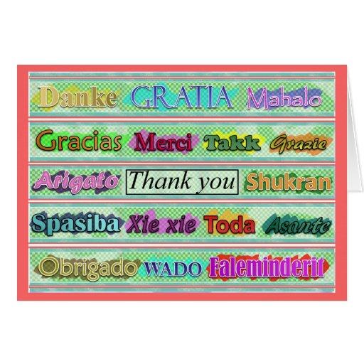 """""""Gracias"""" de alrededor del mundo Tarjeta"""