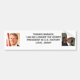 Gracias de Jimmy Carter Barack Obama Pegatina Para Auto