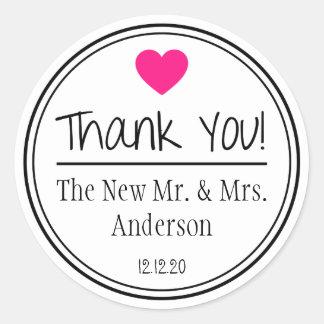 Gracias de nuevos Sr. y señora (rosa fuerte/el Pegatina Redonda