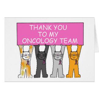 Gracias del equipo de la oncología, cinta rosada tarjeta de felicitación
