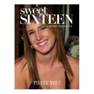 Gracias del fiesta del dulce dieciséis de la foto tarjeta postal