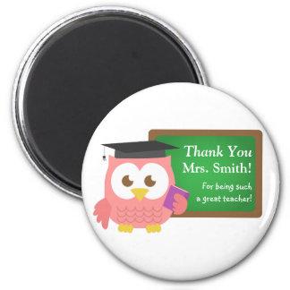 Gracias, día del aprecio del profesor, búho rosado imán redondo 5 cm