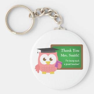 Gracias, día del aprecio del profesor, búho rosado llavero redondo tipo pin