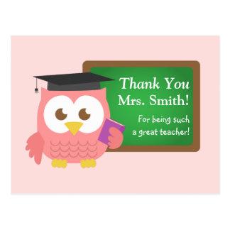 Gracias, día del aprecio del profesor, búho rosado tarjetas postales
