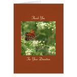 Gracias donación conmemorativa, nota anaranjada de tarjeta