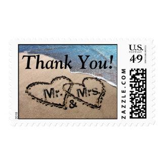 ¡Gracias! Dos corazones en arena varan sellos
