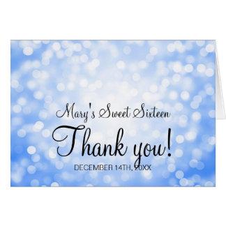 Gracias dulce 16 luces azules del brillo del tarjeta