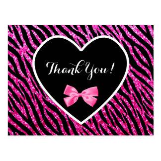 Gracias el corazón atractivo rosado y negro de la postales