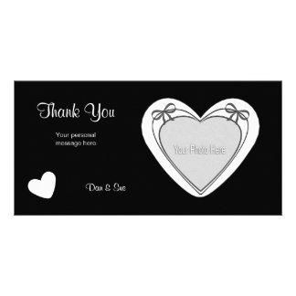 Gracias - el corazón blanco en negro tarjetas con fotos personalizadas