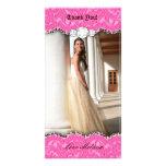 Gracias el dulce 16 b rosado de la joya del cordón tarjetas fotográficas personalizadas