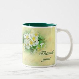 Gracias el Wildflower blanco de los rosas de Multi Tazas De Café
