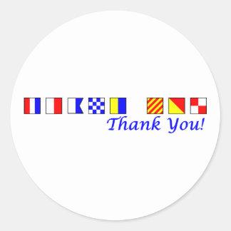 Gracias en alfabeto náutico de la bandera pegatina redonda
