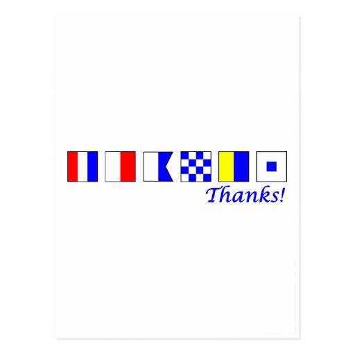 ¡Gracias! en alfabeto náutico de la bandera Postal