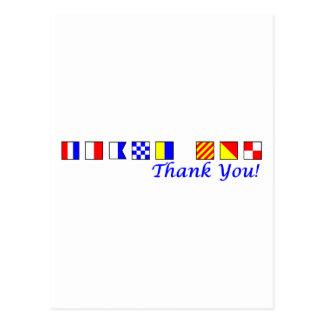 Gracias en alfabeto náutico de la bandera postales